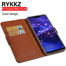 RYKKZ Genuine Leather Flip Cover For Huawei Mate 20 Lite Case Kickstand Maimang 7 With Card Pocket