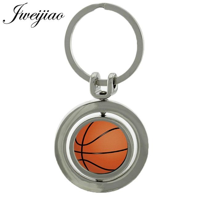 LLavero de bola giratoria de baloncesto JWEIJIAO cabujón de cristal doble cara giratoria de voleibol Baseball clave colgante personalizado Sp639