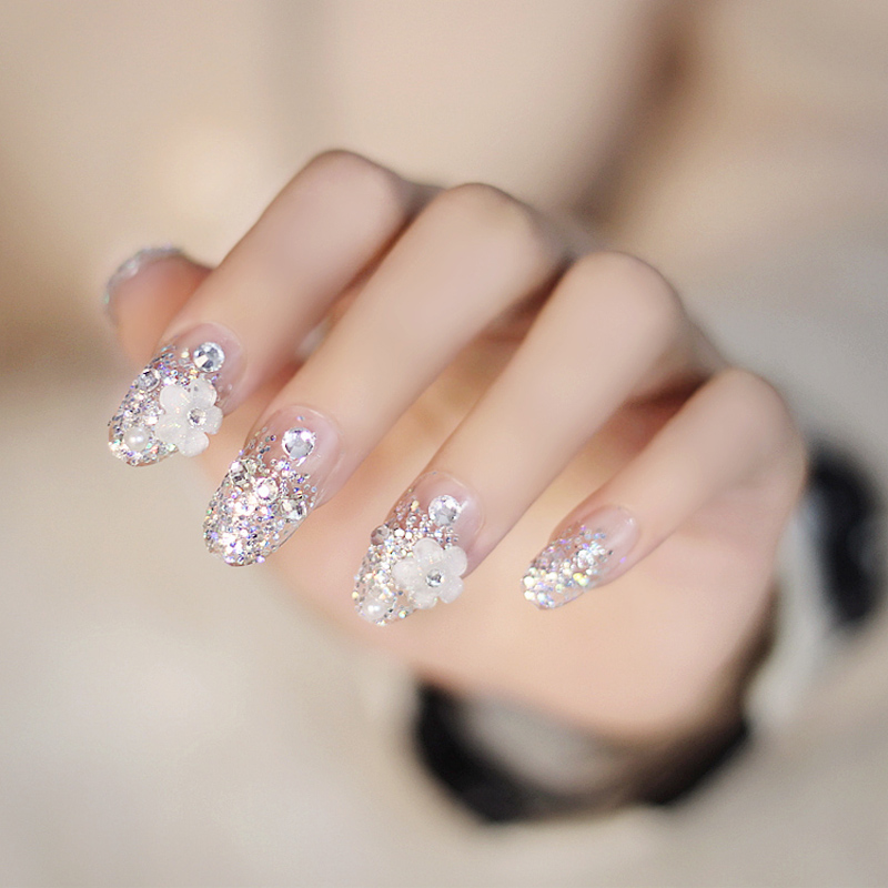 24pcssetbride wedding party beauty art finger nail patchbling 24pcssetbride wedding party beauty art finger nail patchbling rhinestone pearl crystal flower fake naildouble sided adhesive in stickers decals from prinsesfo Images