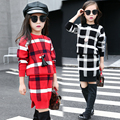 2017 spring and autumn hot fashion children's cotton skirt suit girl 4-11 plaid sweater + split short skirt two-piece sets