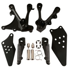Motorcycle Matte Black Front Foot Pegs Footrests Bracket Set For KAWASAKI ZX636 2005-2006