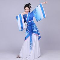 DJGRSTER Hanfu national costume Ancient Chinese Costume White Blue Chinese Hanfu Women Hanfu Clothes Lady Chinese Stage Wear
