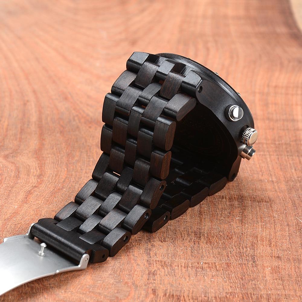 BEWELL Wood Watch Mens Watches Top Brand Luxury Designer Military Watch Quartz Analog Wrist Watch with Chronograph Calendar Date 14