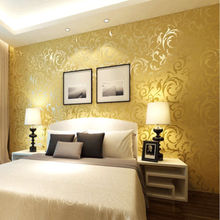 Q QIHANG High-grade Thicking Flocking Wallpaper Roll gold and yellow Color 0.53m*10m=5.3m2