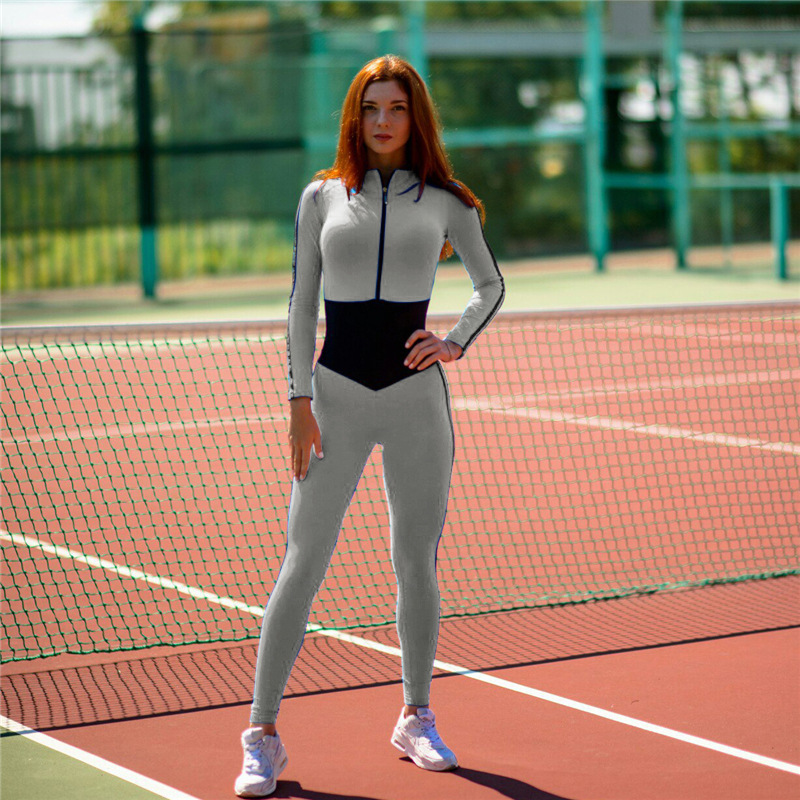 long sleeve hooded side black lines grey light blue cross back one piece jumpsuit catsuit dancing activewear yoga pant workout legging sports legging outfits gym gear (14)