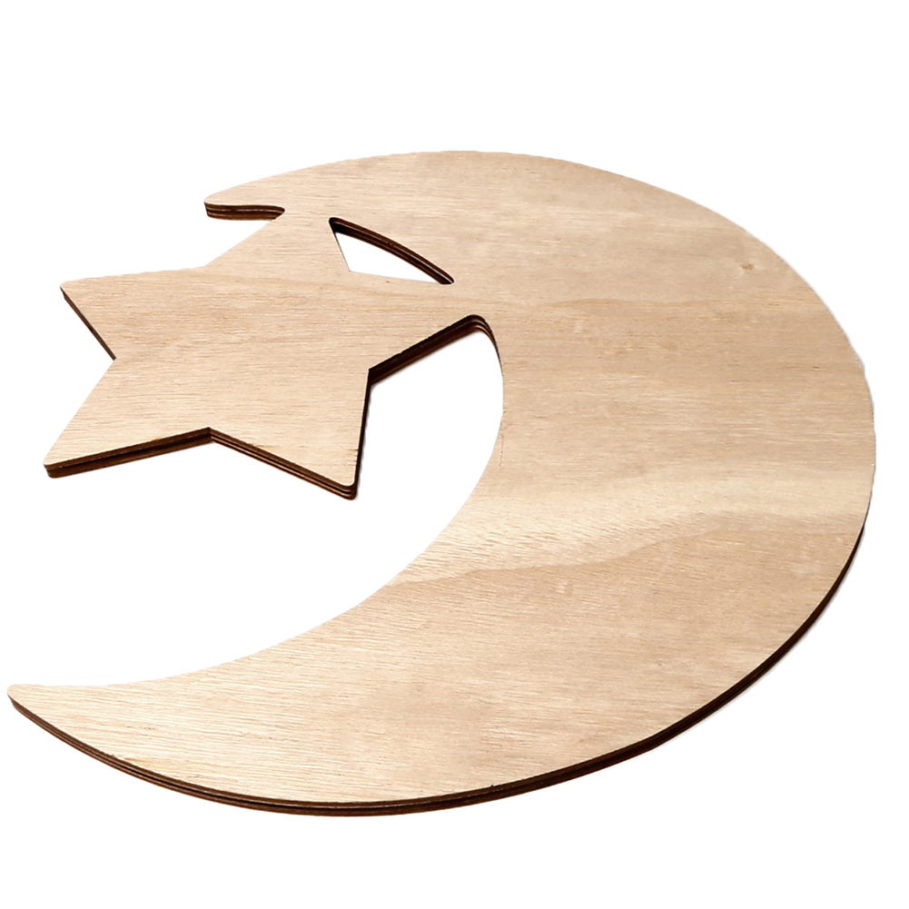 Wooden Crescent Moon Star Eid Ramadan Party Food Serving Tableware Dessert Wooden Dinner Plate Home Ramadan Food Serving Tray