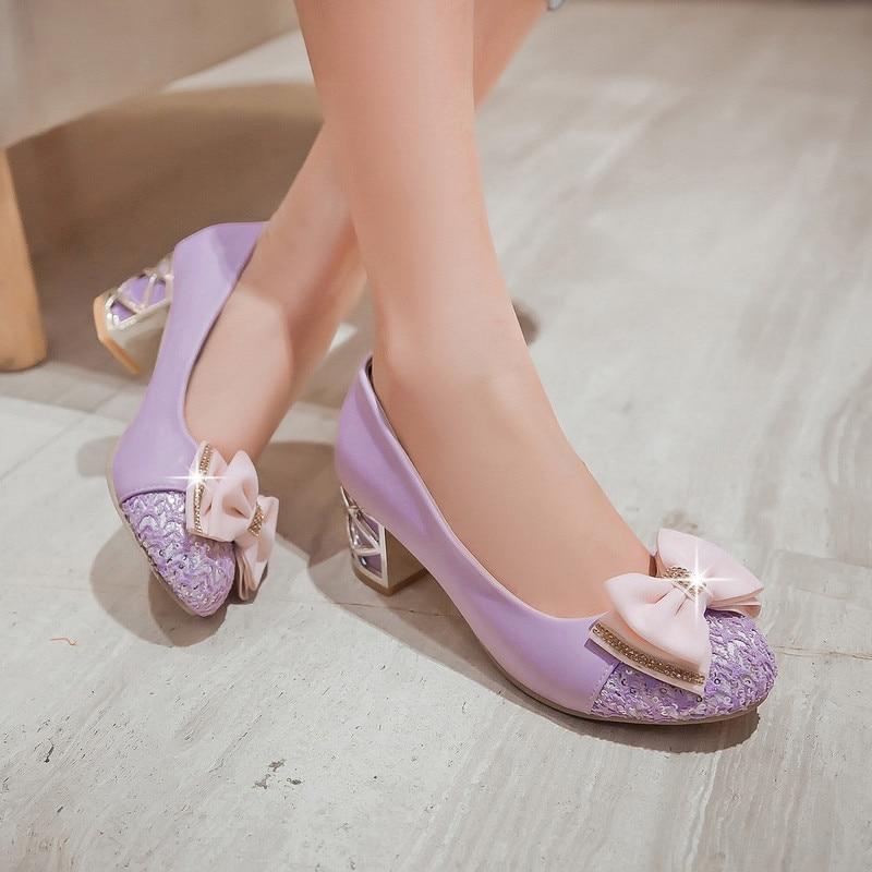 Chunky Wedding Heels: YMECHIC Pink Purple Med Chunky Heel Glitter Bowtie Pumps