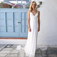 Vestidos De Novia White Simple Beach Sexy Backless Boho Wedding Dresses 2016 Bohemian Bridal Gown Vestido