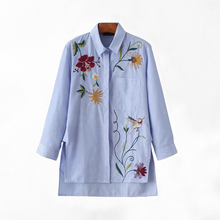 2017 Real Women Tops Tops Blouses Shirts Lapel Nine Sleeves Vertical Shirt Female Spring Loose Was Thin Before The Embroidered