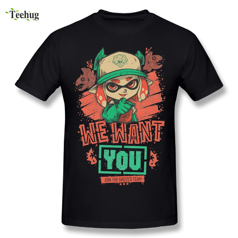 Graphic Men's We Want You Shirt Brand Tees Plus size t shirt Splatoon Nice Short-sleeved