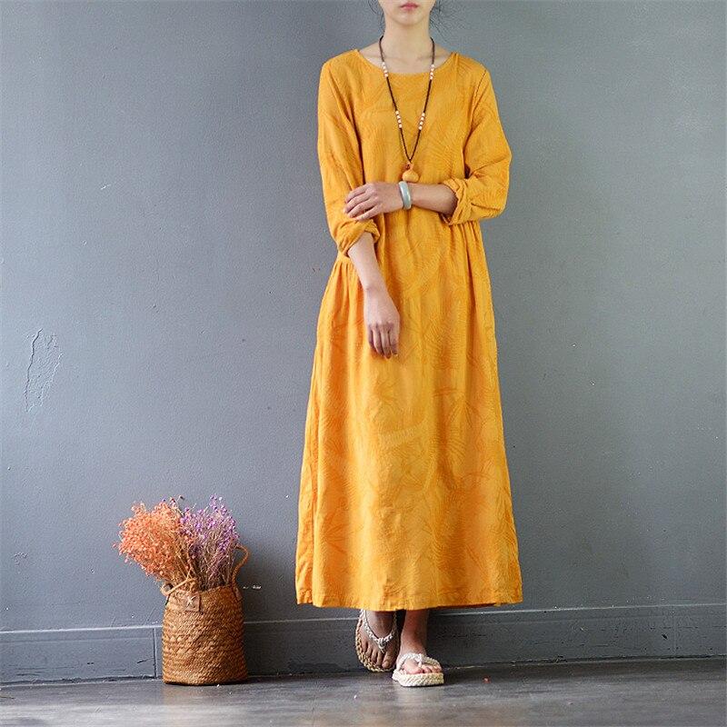 SCUWLINEN 2019 Spring Autumn Women Dress Vintage Jacquard Long sleeve A line Linen Dress Casual Long RobeVestidos S514