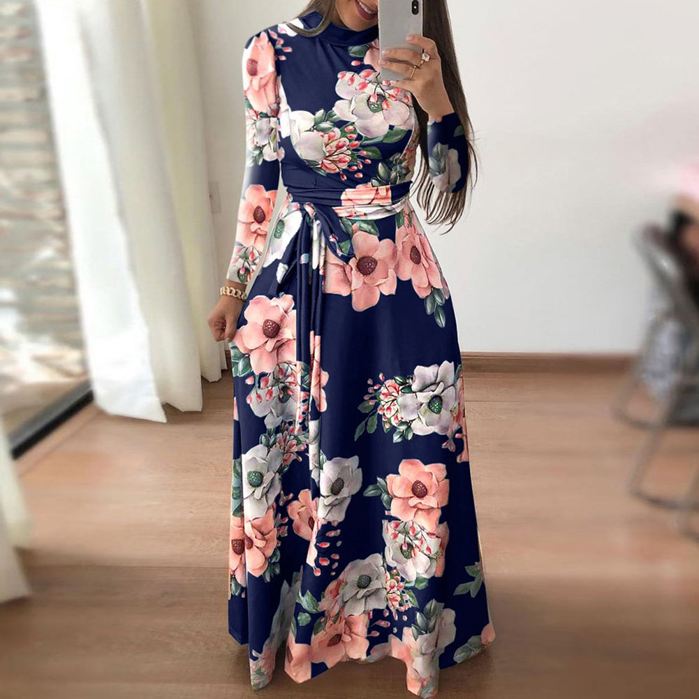 Womens Floral Maxi Dress Long Sleeve Evening Party Summer Beach Long Dresses Printed Boho Sundress New Fashion Streetwear in Dresses from Women 39 s Clothing