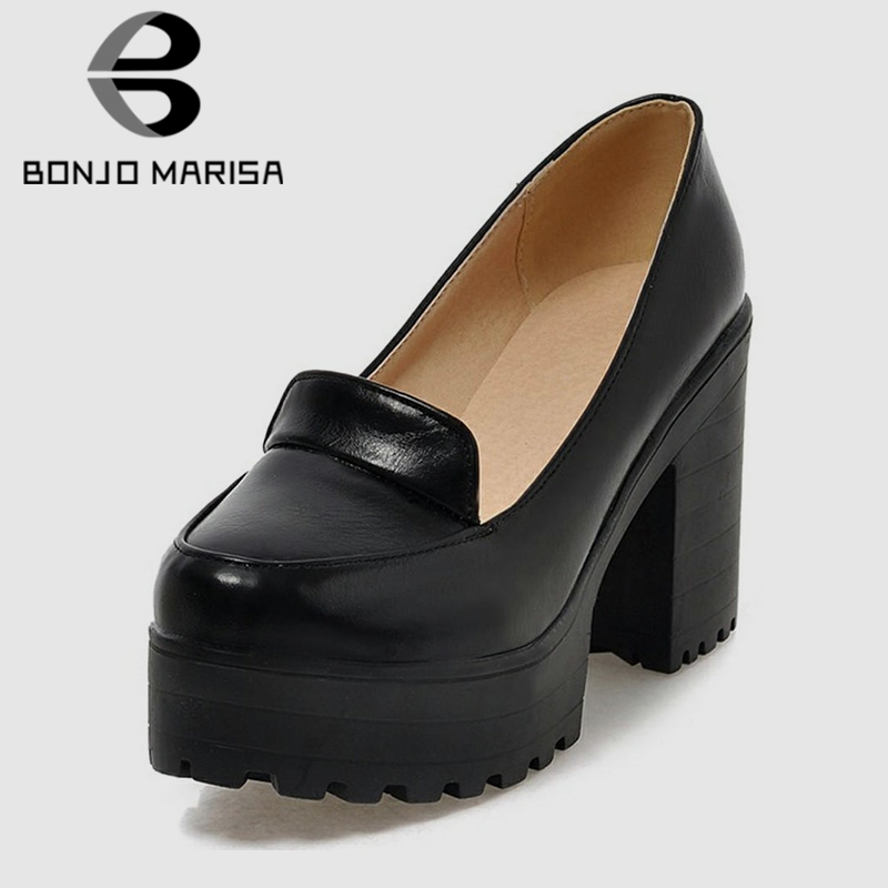BONJOMARISA New 2019 Solid Slip On Square High Heels Shallow Platform Shoes For Women Casual Autumn Pumps Plus Size 34-46BONJOMARISA New 2019 Solid Slip On Square High Heels Shallow Platform Shoes For Women Casual Autumn Pumps Plus Size 34-46
