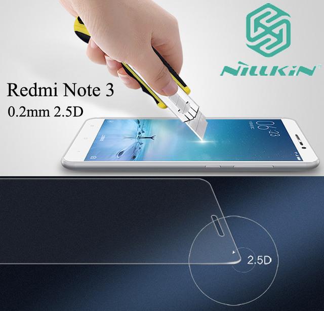 Nillkin increíble h + pro vidrio templado para xiaomi redmi note 3 pro 4 nota4 0.2mm 2.5d borde redondo arco cruved