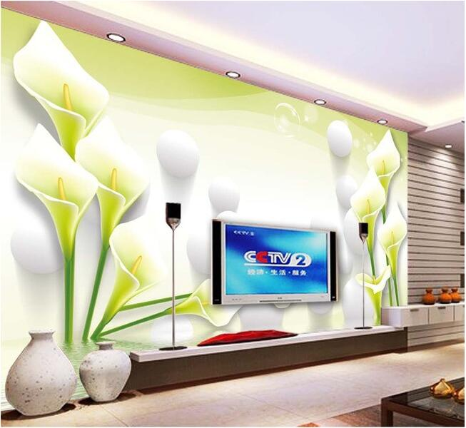 3d wallpaper custom mural non-woven Wall stickers Lily reflection 3 d TV setting wall  painting photo 3d wall mural wallpaper 3d wallpaper custom mural non woven wall sticker black and white wood road snow tv setting wall painting photo wallpaper for 3d