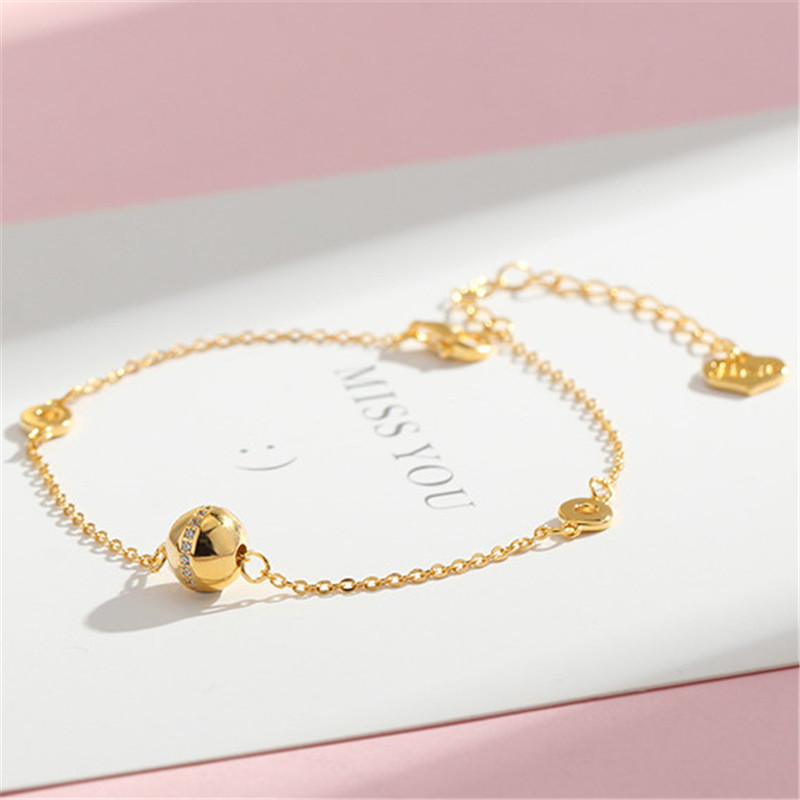 JEWEEN 18k gold plated bead and double circle shape silver s925 bracelets for Black Friday as a gift