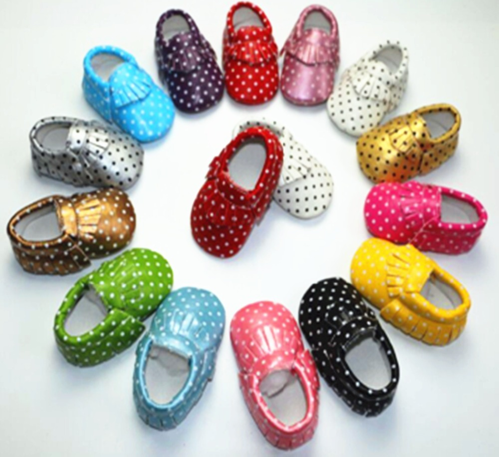 New 14-Colors Tassel Leather Baby Shoes Bling Moccasins Baby Toddler Shoes Unisex Newborn Baby Shoes First Walkers free shipping