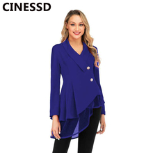CINESSD Women Blazer Coats Black Notched Long Sleeves Office Lady Casual Button Mesh Swing Tops Solid 2019 Cotton Jacket