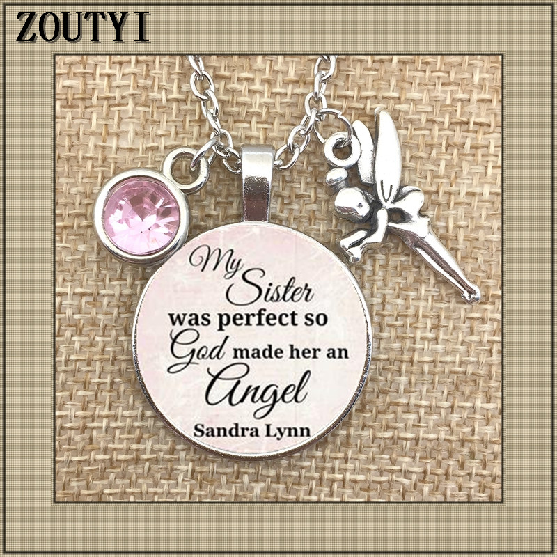 2018 Memorial necklace my sister lost her commemorative charm her sister 39 s loss is perfect so God made her an angel in Chain Necklaces from Jewelry amp Accessories