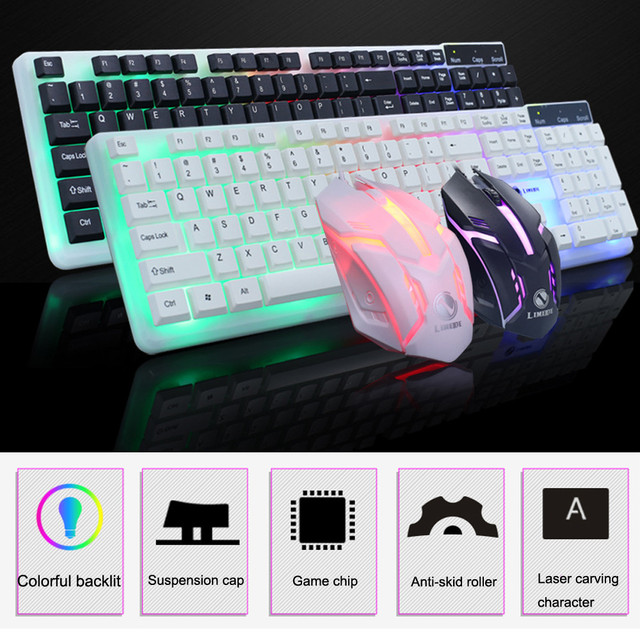 70436c267d5 ZELOTES CAPRPIE T11 Colorful LED Illuminated Backlit USB Wired PC Rainbow Gaming  Keyboard Mouse Set YE2