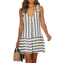 Fasion Women Summer Boho Short V Neck Stripes Dress Casual Loose Beach Holiday Sundress Ladies Sleeveless Button Dresses S-XL