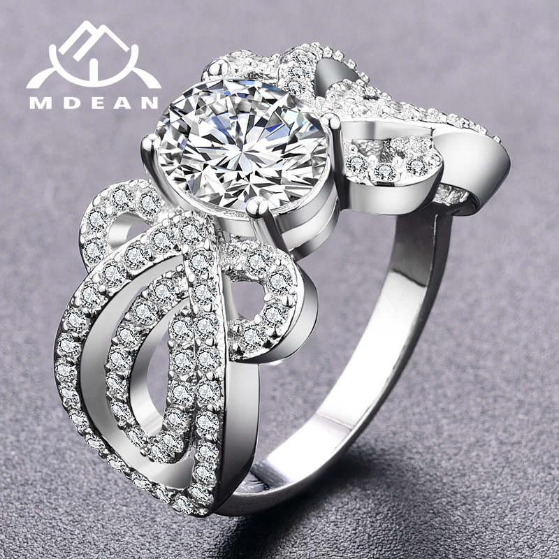 MDEAN Noble White Gold Color Wedding Engagement Rings Fashion for Women Clear AAA Zircon Jewelry Bague Bijoux Size 6 7 8 H840