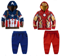 Мстители дети мальчики комплект одежды мальчик капитан америка спортивные костюмы детей 2 шт. комплект мальчика костюмы