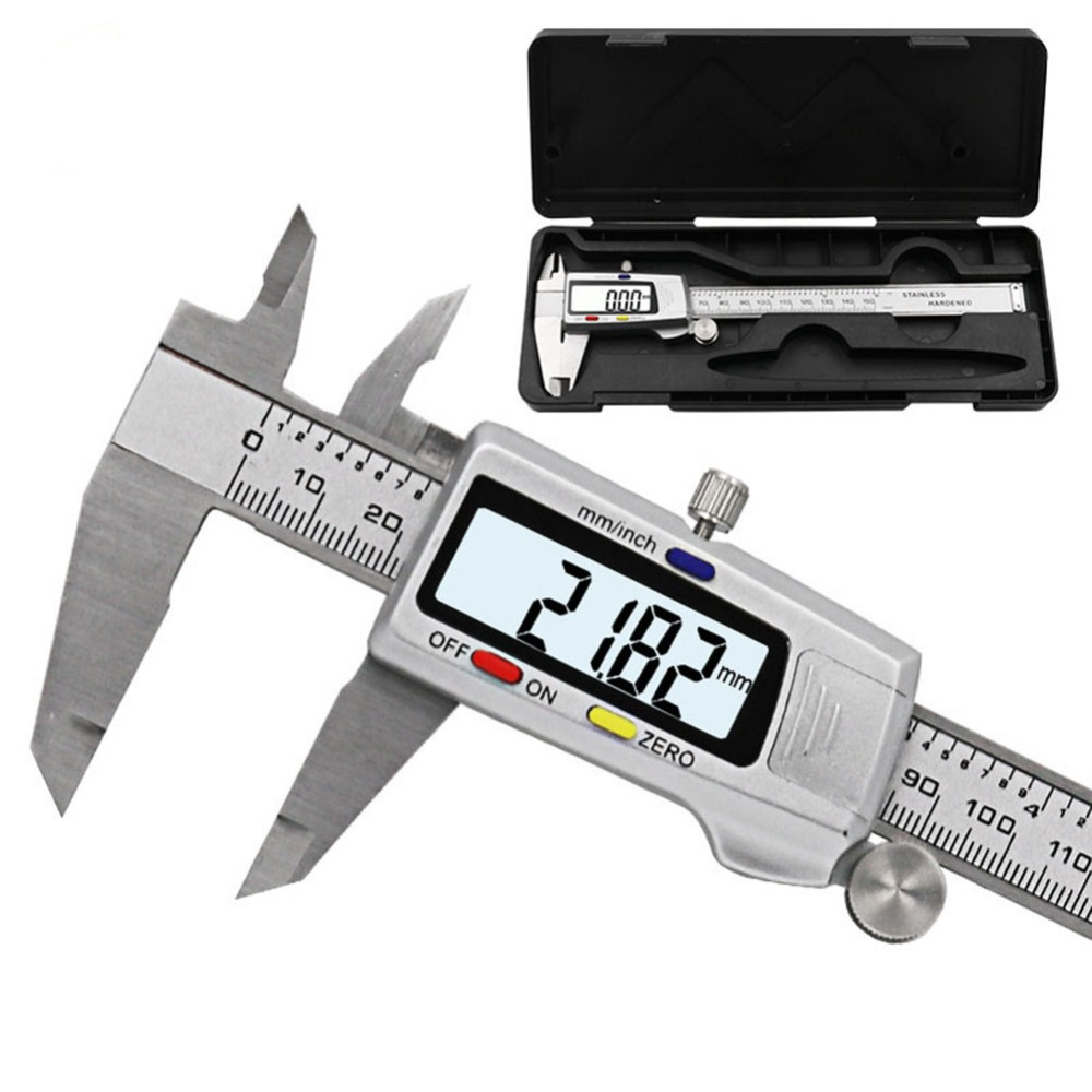 Digital de acero inoxidable electrónica Vernier 0-150mm de alta precisión 0,01mm Vernier calibrador micrómetro instrumento de medición