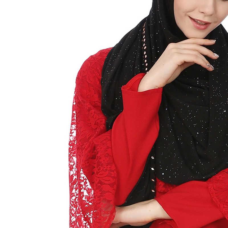 2019 אופנה נצנצים נשים חיג 'אב מטפחת ארוך צעיפי כורכת שחור שיפון מוסלמי צעיף טורבן femme musulman צעיפי עבור גברת