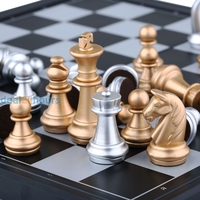 Silver Gold Folding Magnetic Chess Set Rosewood Educational Board Travel Game Free Shipping