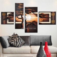 hand painted large pine tree painting sunrise sunset oil on canvas brown landscape wall art pictures for living room