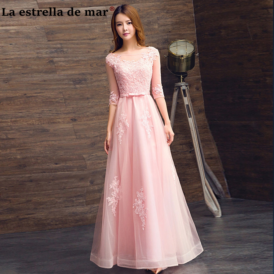 Robe rose demoiselle d'honneur2018 New Lace Half Sleeves a Line Silver Champagne   Bridesmaid     Dress   Long Cheap brautjungfernkleid