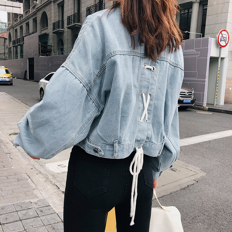 aec2bb65509 Harajuku Boyfriend Denim Jacket Female Korean Women Jean Jacket Short Coat  Back Strap Oversize Outerwear Loose Bomber Jacket