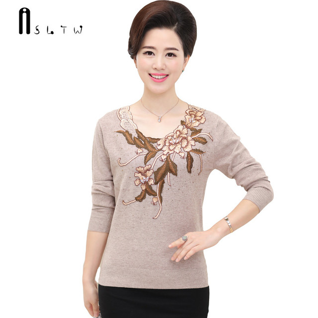 ASLTW 7 Colors Women Pullover Sweater 2017 New Casual Long Sleeve Knitwear Embroidery Floral O Neck Female Heding Sweaters Tops