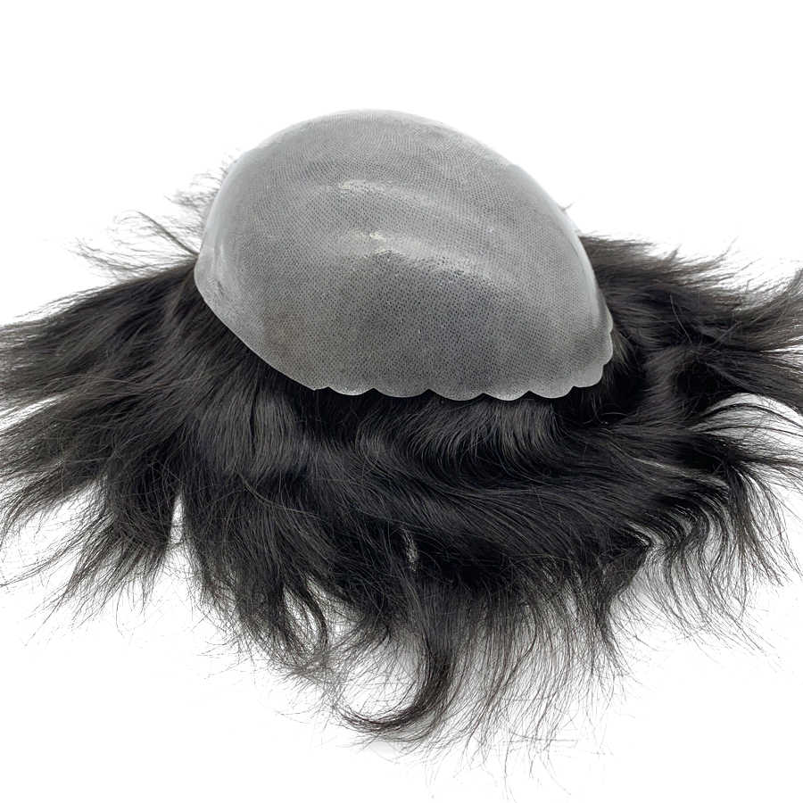 hairpiece man front shell skin base men hair toupee silicone wig