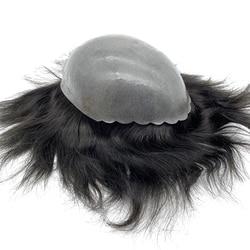 Haarteil mann vorne shell haut basis männer haar toupet silikon perücke