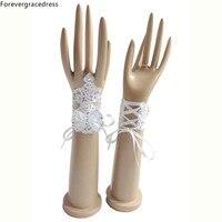 Forevergracedress Piękne Oszałamiająca Real Photo Biały Ivory Fingerless Rękawiczki Panny Młodej Tanie Akcesoria Ślubne Dla Nowożeńców