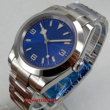 40mm bliger sterile blue dial luminous mark sapphire glass automatic SNOW FLAKE silver watch mens