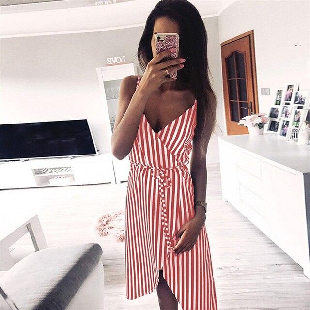 b607bb56b Women Stripe Printing Sleeveless Off Shoulder Dress Evening Party Vest  Empire Sashes dress women 2019