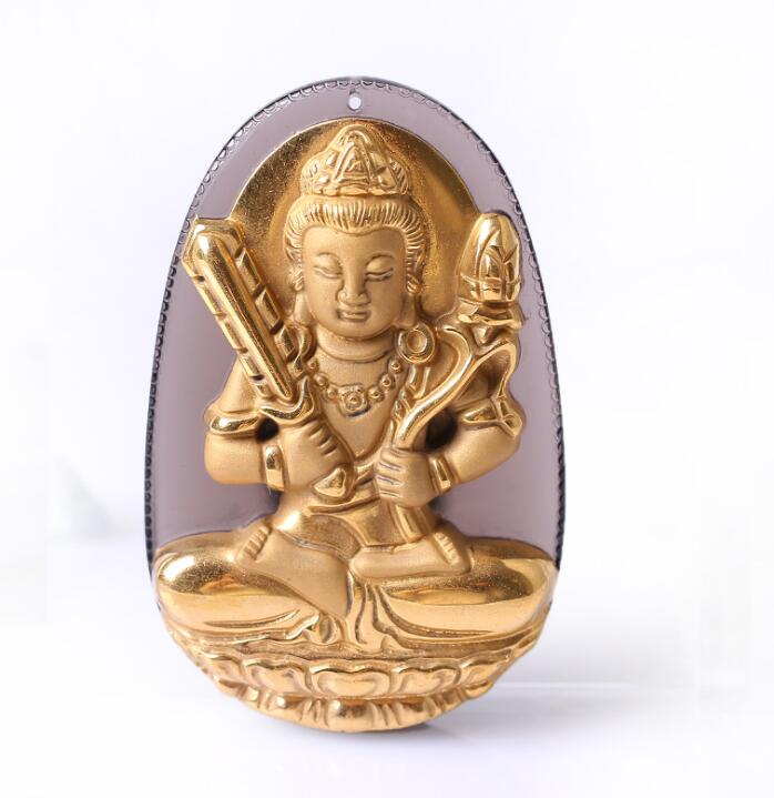 Natural Ice Clear Obsidian Carved Gold Color Chinese XuKongZang Kwan-Yin Lucky Amulet Pendant +free Necklace fashion Jewelry