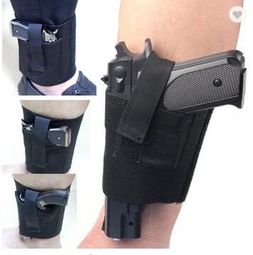 Universal Left Right Black Elastic Concealed Carry Pistol Gun Ankle Holster