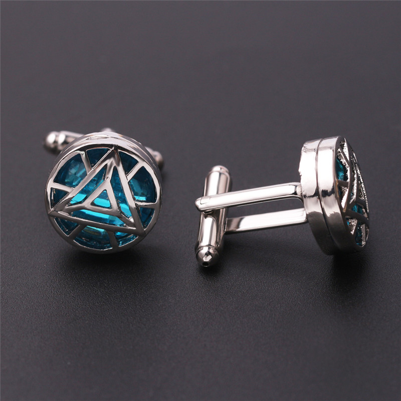 High Quality Fashion Iron Man Heart Cufflinks Blue Crystal Silver Color Cuff Links Charm Cuff Button Gifts For Men Shirt Jewelry