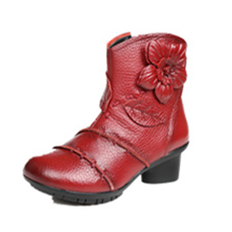 Mujer Para Zapatos Negro Mujeres Vaca Vendimia Folk Tobillo Cuero E Genuino Invierno Otoño Estilo Las Botas La rojo De Madre wqBtxpPFO