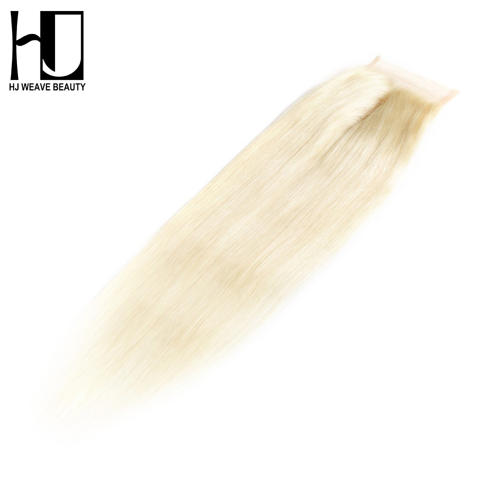 HJ Weave Beauty Hair 7A Brazilian Straight Closure Color #613 Blonde Brazilian 4*4 Lace Closure Middle Part Free Shipping image