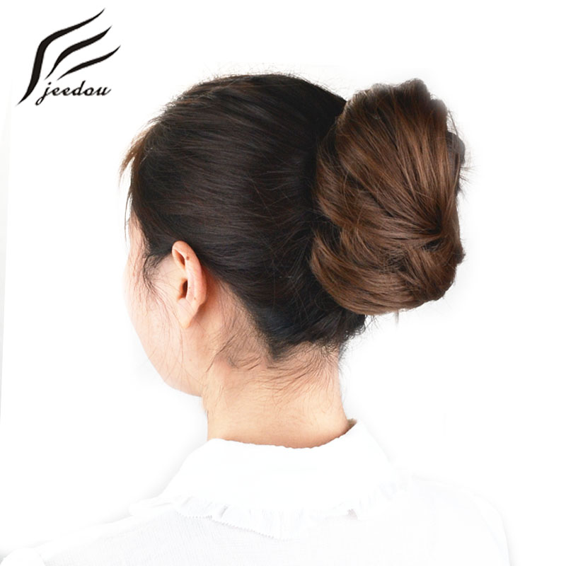 Jeedou Synthetic Hair Donut Chignon Hårförlängningar 30g Hår Bun Pad Rubber Band Hårstycken Real Natural Elegant Updos