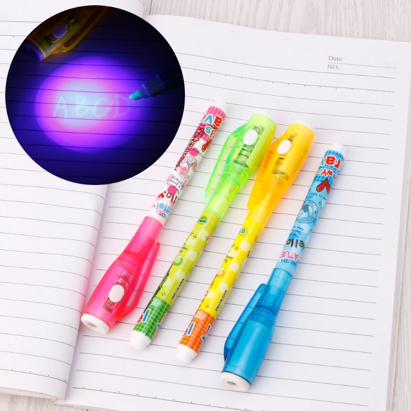 4Pcs Invisible Ink Pen Pen With Light Magic Marker Kid Pen for Secret Message dropshipping magic joke ball pen invisible slowly disappear ink within one hour magic gift
