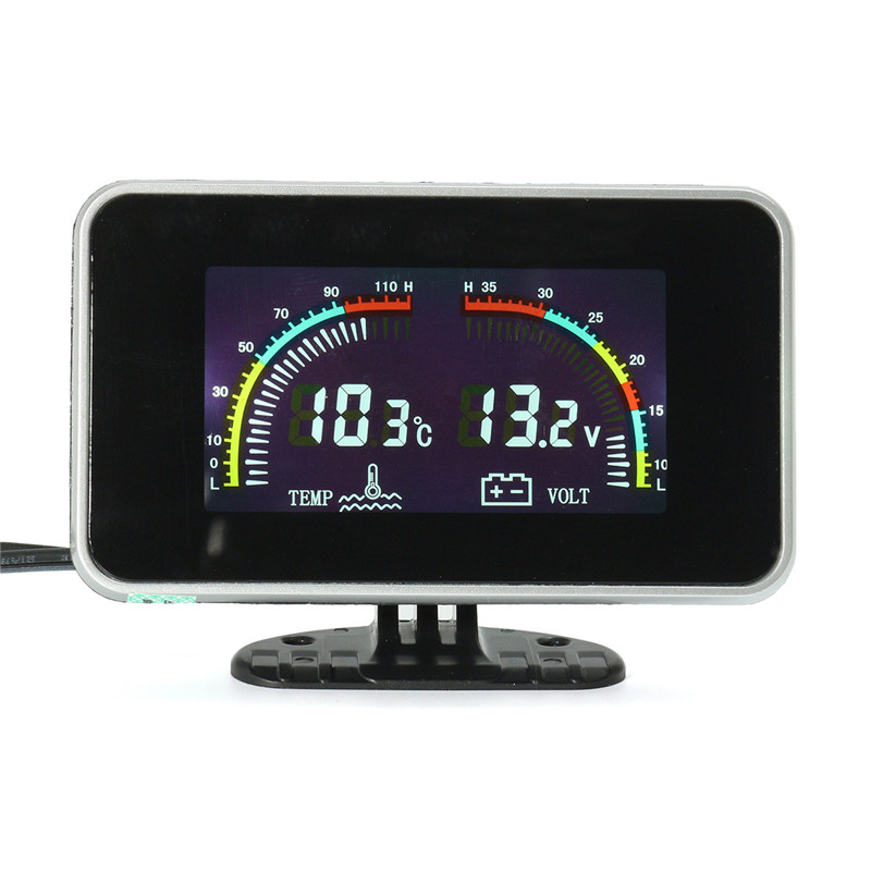2 In 1 Large Screen Lcd Digital Gauges Voltmeter Water