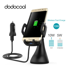 Dodocool Qi Autohouder Snelle Wireless Car Charger Opladen Pad Qi Draadloze Oplader Voor Samsung Galaxy S9 S8 / S8 + / S7 Rand