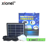 Xionel Solar Panel Solar DC Lighting System Emergency Kits for Outdoor Lighting and Cellphone Charging