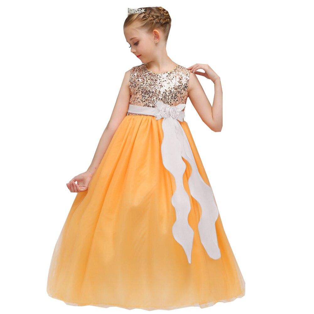 Wholesale Elegant Shinning Sequins Children Flower Girls Dress With Flower Tassel Appliques Girls Party Long Dress LP-72